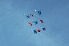 Swifts (Strizhi) and Russian Knights, bottom view Royalty Free Stock Photo
