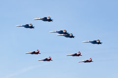 Swifts (Strizhi) and Russian Knights, side view Stock Photos