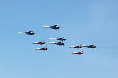 Swifts (Strizhi) and Russian Knights, side view Stock Photo