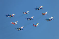 Swifts (Strizhi) and Russian Knights Stock Photography