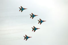 Swifts (Strizhy) at MAKS-2013. Swifts (Strizhy) at International Aerospace Salon MAKS-2013. Taken on August 30, 2013 in Zhukovsky, Moscow region, Russia Stock Image