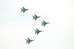 Swifts (Strizhy) at MAKS-2013. Swifts (Strizhy) at International Aerospace Salon MAKS-2013. Taken on August 30, 2013 in Zhukovsky, Moscow region, Russia Royalty Free Stock Photo