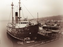 Swiftsure LV83 Lightship Sepia. Swiftsure LV83 is a lightship and museum ship moored at the Northwest Seaport in Seattle, Washington. Launched in 1904 at Camden Stock Photo