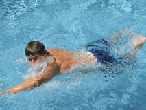 In The Swim. This is a shot of a man doing the American crawl in a pool royalty free stock photo