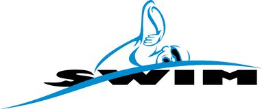 Swim. Logo of a crawl swimmer with the word swim Stock Photos