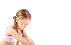 Swim. Young girl as swimmer with glasses Royalty Free Stock Image