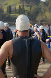 Swim. A man in a triathlon Stock Image