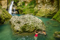 Swim in Blue Lagoon. Go down and swim in the Blue Lagoon near Jacmel , Haiti stock photo
