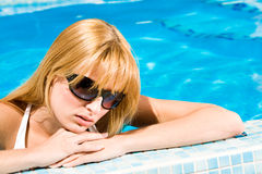 Swim in the blue water Royalty Free Stock Images