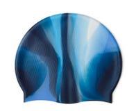 Swim cap. Blue silicone swim cap isolated on white stock photos