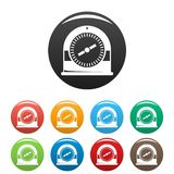Swim clock icons set color. Swim clock icons set 9 color vector isolated on white for any design royalty free illustration