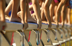 Swim competition. Female swimmer starting swim event stock photos