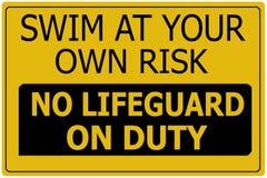 Swim an eigenem Gefahr-Zeichen Lizenzfreies Stockbild