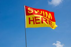 Swim Here Flag Stock Image