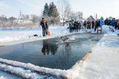 The swim in the icy water, 24 January 2016. Stock Image
