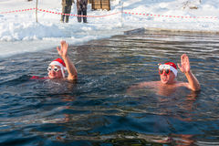 The swim in the icy water, 24 January 2016. Royalty Free Stock Image