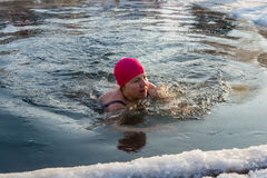 The swim in the icy water, 24 January 2016. Stock Photography