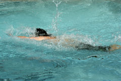 Swim Meet. Young boy swims and splashes his way to the finish line Royalty Free Stock Image
