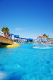 Swim-pool. Summer holidays - resort' territory with swim-pool royalty free stock images