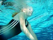Swim practice. Of 8 y.o. girl Stock Photos