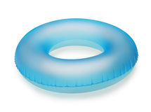 Swim ring. Blue inflatable swim ring isolated on white royalty free stock photography