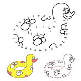 Swim ring duck. Doodle swim ring duck.Connect the dots picture puzzle.Dot to dot educational game for kids.Vector illustration. Numbers game Royalty Free Stock Image