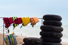 Swim Ring and the life vest. Near the beach in Songkhla Province, Thailand Royalty Free Stock Photo
