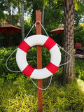Swim ring for lifesaver on the side swimming pool Royalty Free Stock Photos
