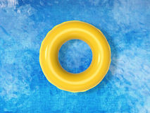 Swim ring on pool. 3d rendering swim ring floating on pool top view Royalty Free Stock Photo