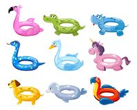 Swim rings cartoon set. Summer inflatable lifebuoys collection with animal heads. Flamingo, crocodile, swan, unicorn, dog, dolphin vector illustration
