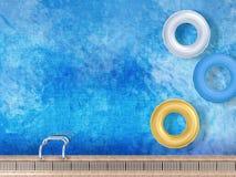 Swim rings. 3d rendering swim ring on pool top view Stock Photos