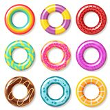 Swim rings. Swimming ring colorful buoy pool kids float inflatables toys beach children lifesaver summer realistic royalty free illustration