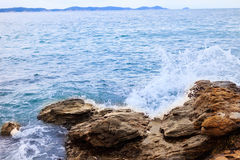 Swim between the rocks and cliffs. Stock Image