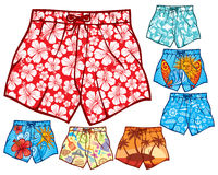 Swim shorts. Collection, swimming trunks set Stock Photos