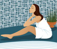 Swim Spa. Woman wrapped in towel relaxes next to a pool or jacuzzi Vector Illustration