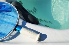 Swim spa cleaning net. Hot tub swim spa from above stock photography