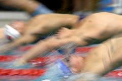 Swim start 4. The start of a backstroke race Royalty Free Stock Photo