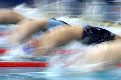 Swim start 5. The start of a backstroke race Stock Photography