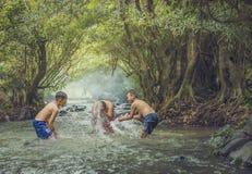 Swim in the stream. Children swim in the streams stock photography