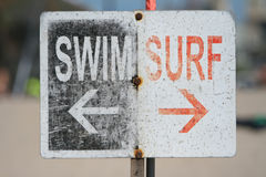 SWIM SURF Venice beach, CA. SWIM SURF sign in Venice Beach stock image