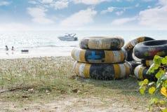 Swim tube stack on the beach Stock Photos
