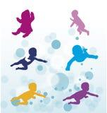 Swimin behandla som ett barn Royaltyfri Bild