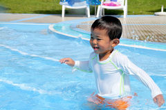 Swiming Japanese boy. (2 years old Stock Image