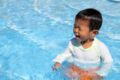 Swiming Japanese boy. (2 years old Royalty Free Stock Images