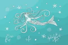 Swiming mermaid under water. Print with hand drawn swiming mermaid  in zen style for home art, decorate wall, visit card, book, notebook, posters, banners. eps Stock Image