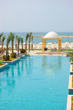 Swiming pool and beach area. In UAE Royalty Free Stock Image