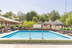 Swiming pool. Empty blue swimming pool in  Gambia , Tendabia resort Stock Images