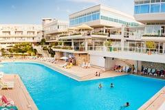 Swiming pool. By hottel near city Porec - Croatia Royalty Free Stock Photo