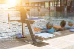 Swiming pool and jumping stand Royalty Free Stock Photo