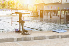 Swiming pool and jumping stand Royalty Free Stock Image